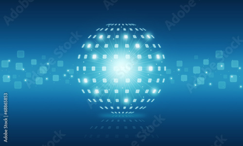 canvas print picture Abstract globe digital technology internet background