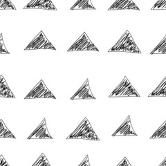 Vector seamless pattern. Black triangles doodle