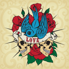 Colored sticker on the shirt with a skull, roses and swallow.