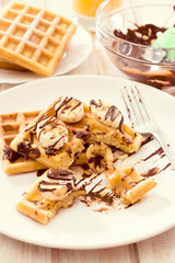 Sweet waffles and chocolate