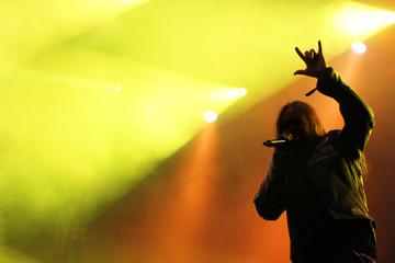 Male singer silhouette heavy metal concert