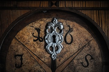 Old wooden door with beautiful decoration