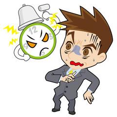 時計と青ざめるビジネスマン