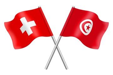 Flags: Switzerland and Tunisia