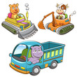 set of construction vehicle animal cartoon.