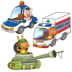 animal vehicle Occupation cartoon.