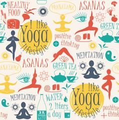 Yoga lifestyle seamless pattern