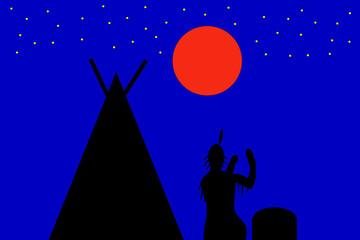 Indianer trommelt in der Dämmerung