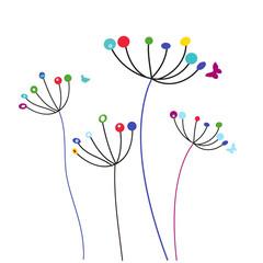 Dandelion flowers vector background