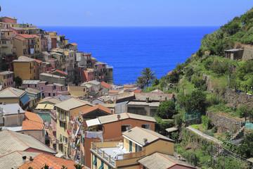 Village of Manarola, at Cinque Terre, Italy