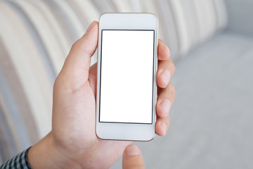 man holding a white telephone with isolated screen