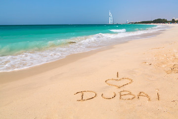 I love Dubai sign on the beach