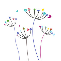 Colorful dandelion flowers and butterflies vector