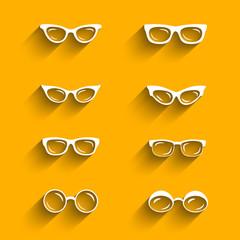 Flat design eyeglasses vector set with shadows