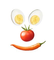 Smiley aus gesunden und vitaminreichen Nahrungsmitteln