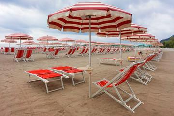 empty beach in Liguria, Italy