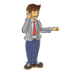 Business man standing with phone