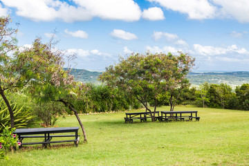 Picnic Benches on a Tropical Hillside