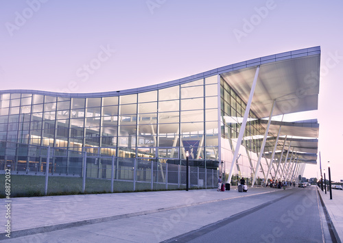 Modern Wroclaw airport terminal in Poland