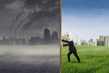 Anonymous businessman try to save environment