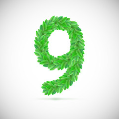 Number nine, made up of green leaves