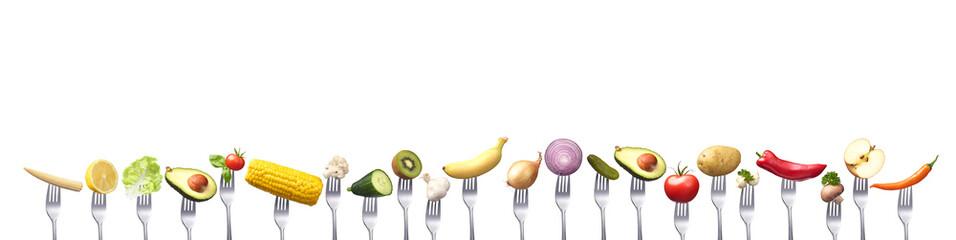 Reihe vegetarischer Lebensmittel