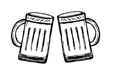 Glas Bier - freigestellt - Anstossen...ein Prosit