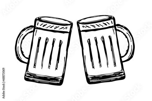 canvas print picture Glas Bier - freigestellt - Anstossen...ein Prosit