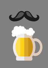 beer mug flat icon and mustache
