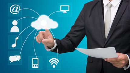 Businessman hand touch cloud computing concept