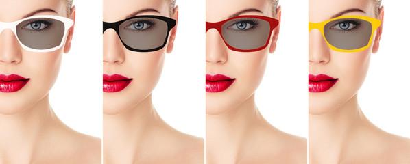Young beautiful fashion girl in stylish bright sunglasses