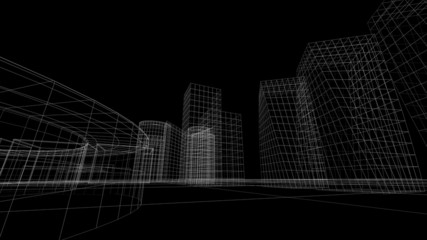 Wireframe view of some buildings with a black background