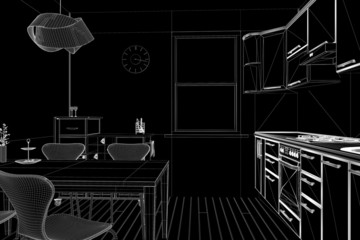 3D render of a kitchen in wireframe view