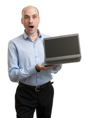 shocked businessman with Laptop computer