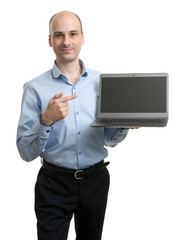 business man with a laptop computer