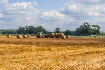 Tractor collecting hay bales
