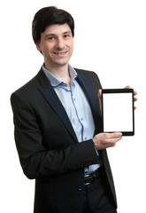 business man presenting digital tablet with blank screen