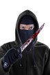 Killer threatening with bloody knife