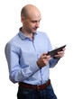 Happy Young Man Using Digital Tablet