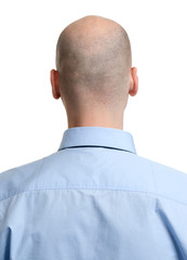 adult man bald head rear view