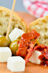 Olives, feta cheese and sundried tomatoes
