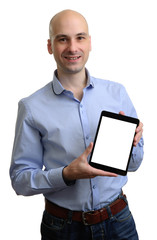 Happy man with tablet computer