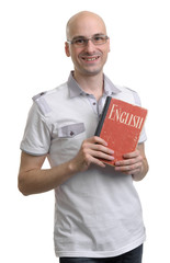 English education. Happy casual man with book
