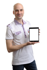Casual Young Man Holding a Digital Tablet