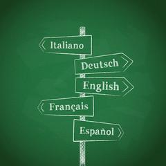 LANGUAGES signposts (Italian English French German Spanish)