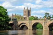 canvas print picture - River Wye Bridge and Cathedral, Hereford © Arena Photo UK