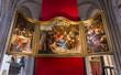 Leinwanddruck Bild - Interiors of Notre dame d'Anvers cathedral, Anvers, Belgium