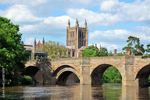 canvas print picture River Wye Bridge and Cathedral, Hereford © Arena Photo UK