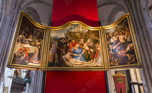 Foto op Canvas Antwerpen Interiors of Notre dame d'Anvers cathedral, Anvers, Belgium