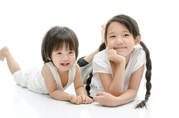 Smiling brother and sister Isolated